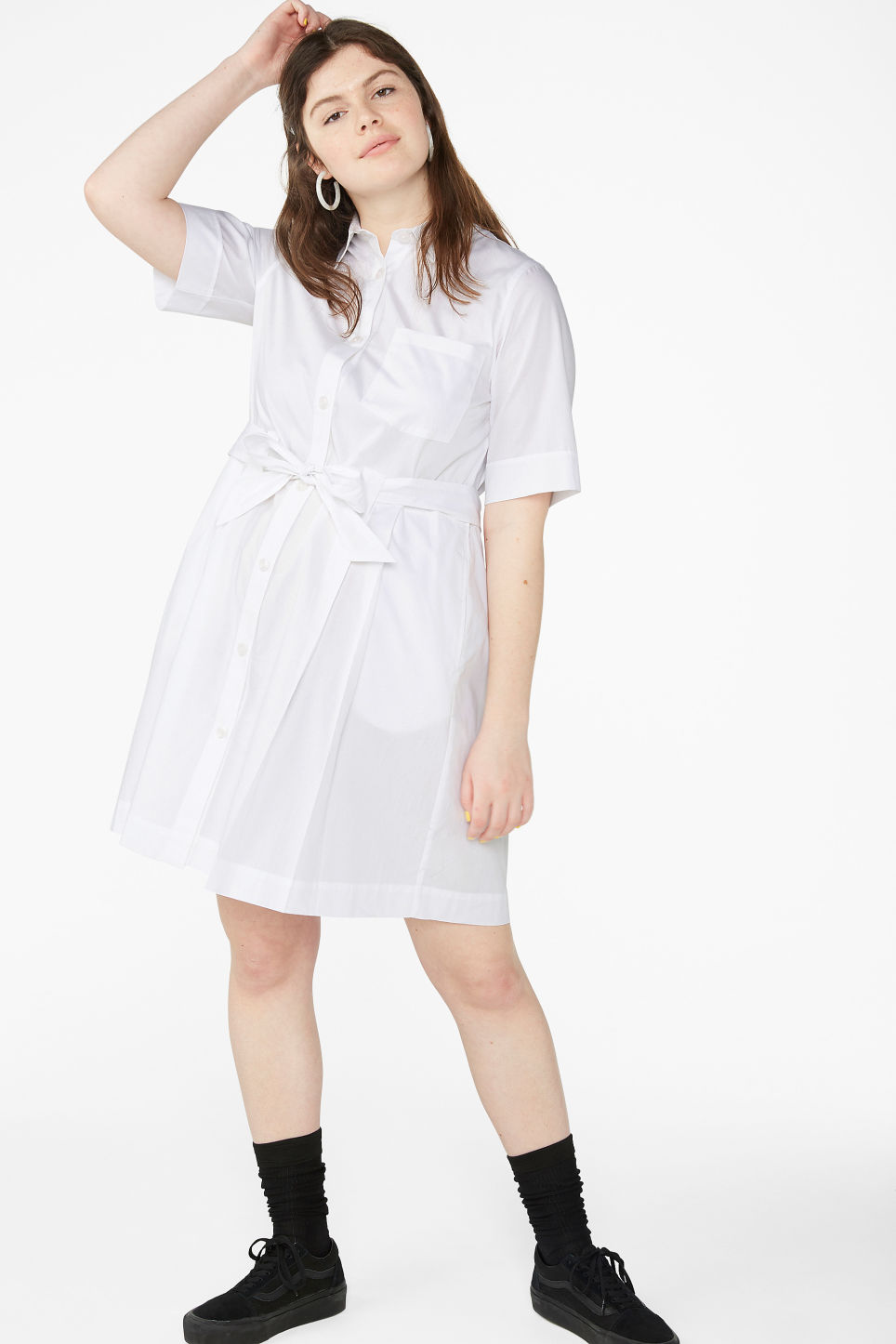 Model front image of Monki tie-waist shirt dress in white
