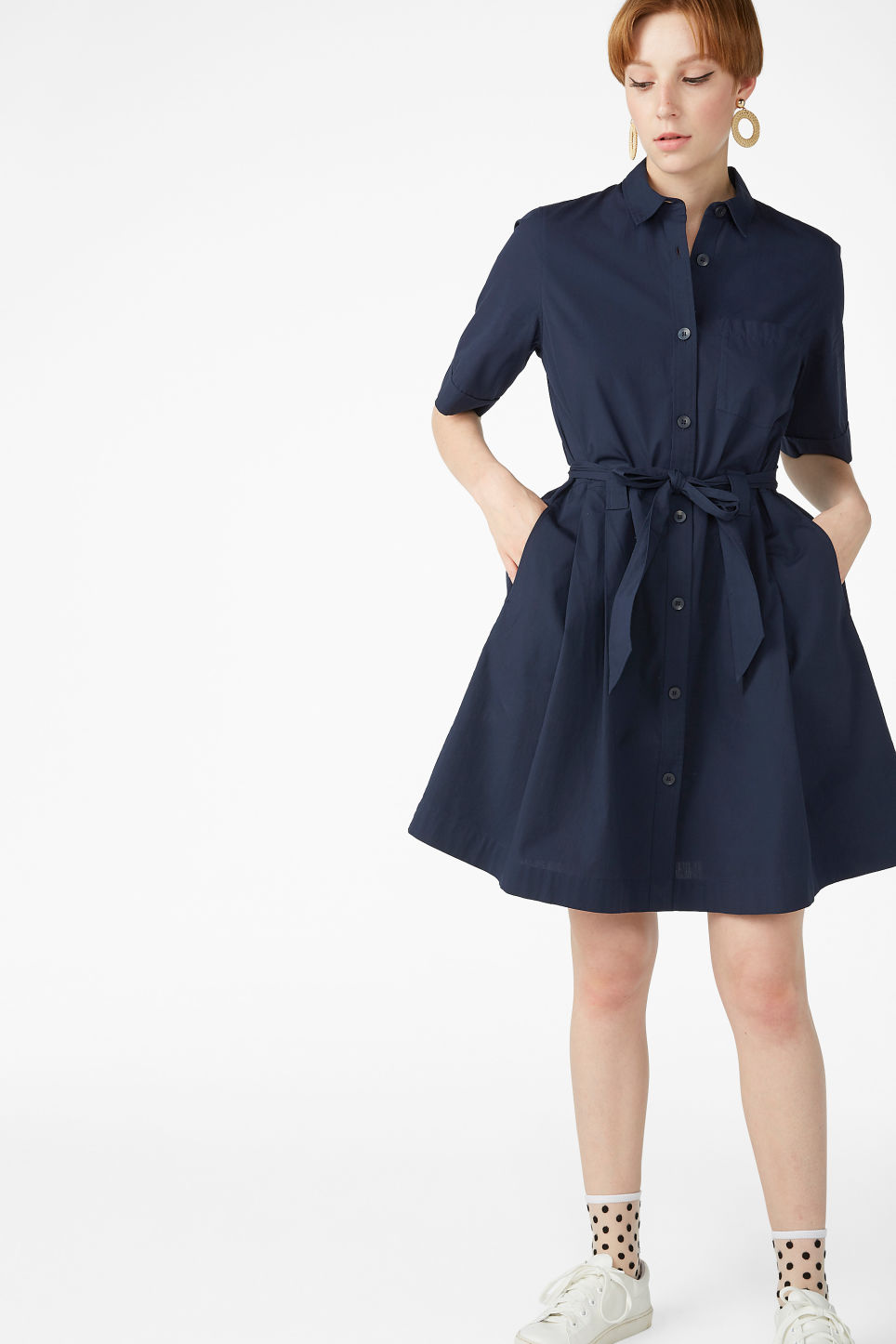 Model front image of Monki tie-waist shirt dress in blue