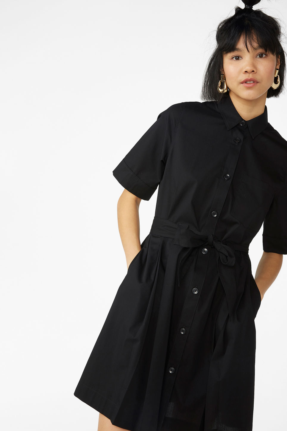 Model front image of Monki tie-waist shirt dress in black