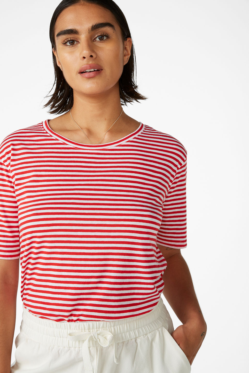 Model front image of Monki organic cotton t-shirt in red