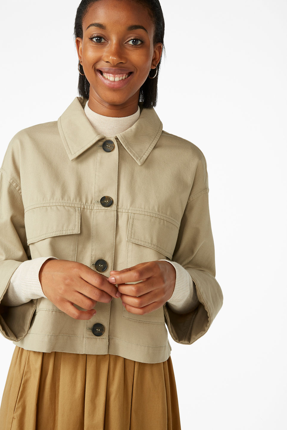 Model front image of Monki boxy utility jacket in beige