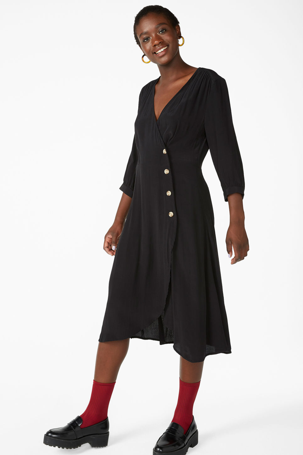 Model front image of Monki buttoned wrap dress in black