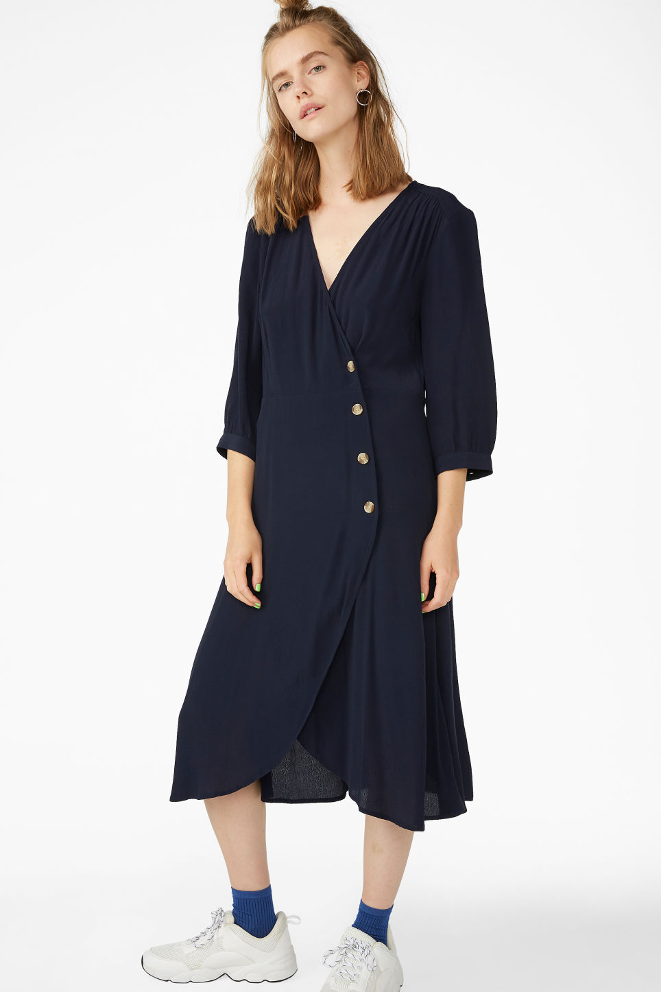 Model front image of Monki buttoned wrap dress in blue