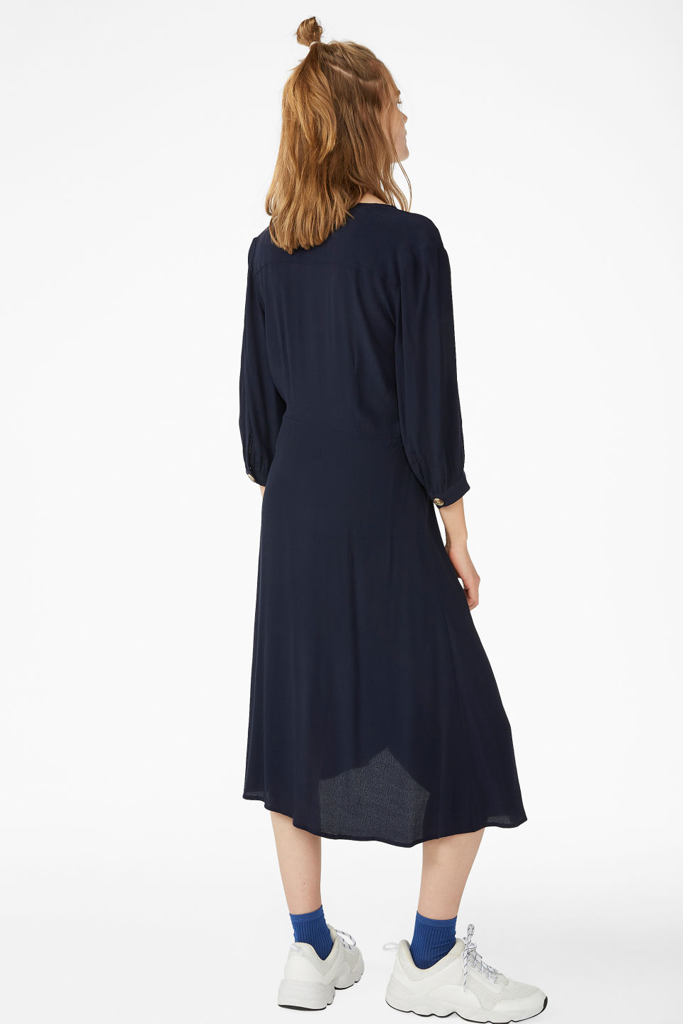 Model back image of Monki buttoned wrap dress in blue