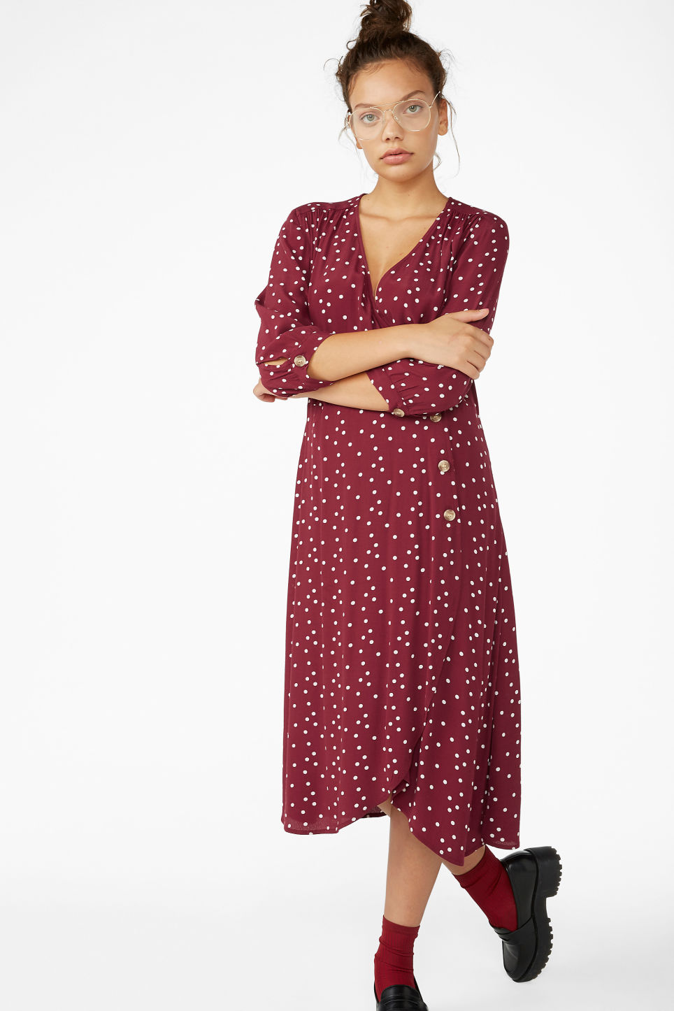 Model front image of Monki buttoned wrap dress in red