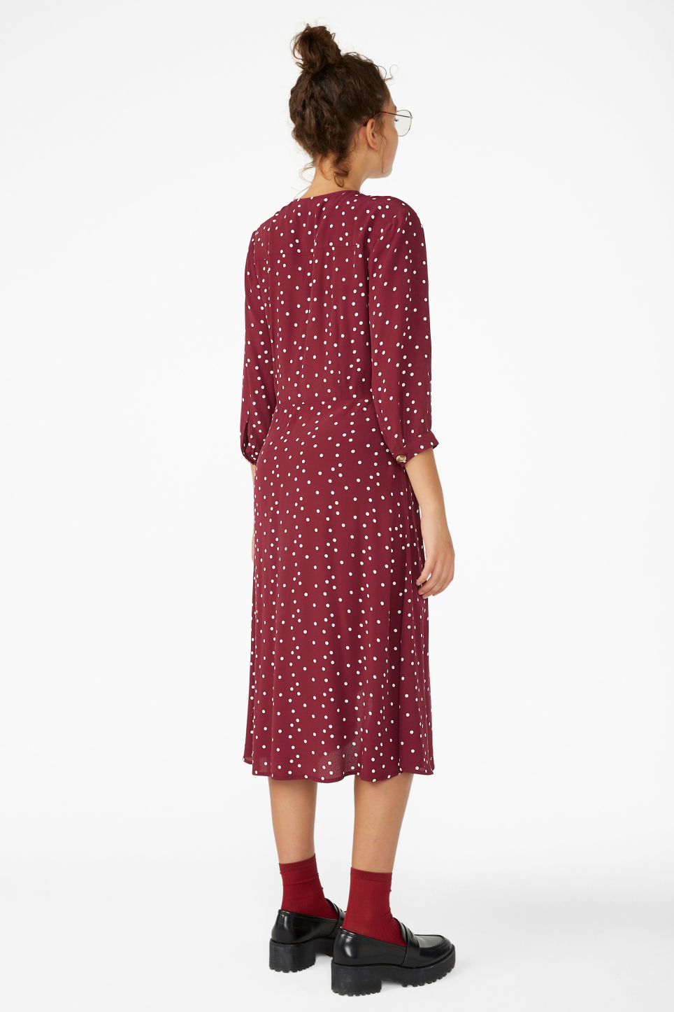 Model back image of Monki buttoned wrap dress in red