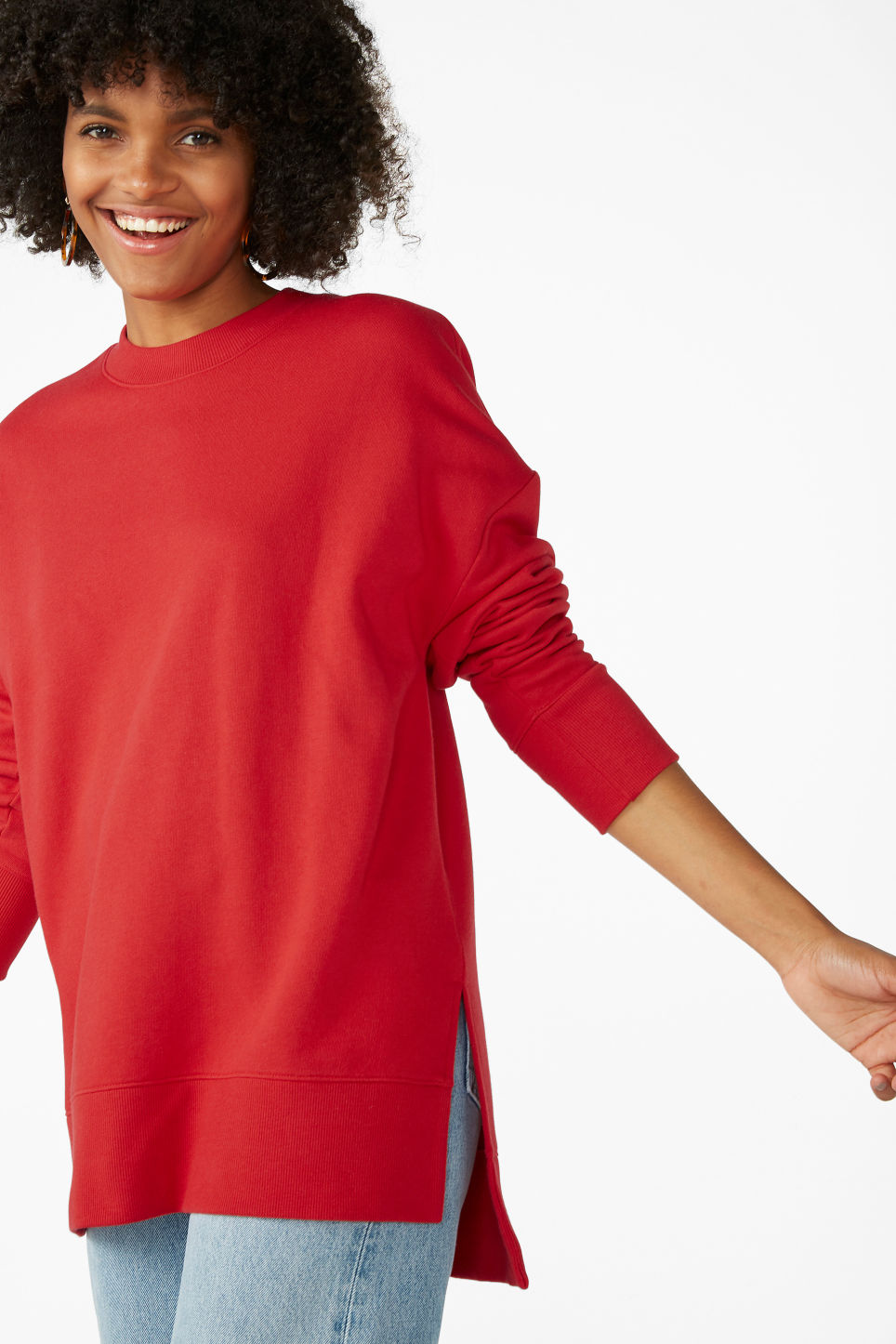 Model front image of Monki asymmetrical sweatshirt  in red