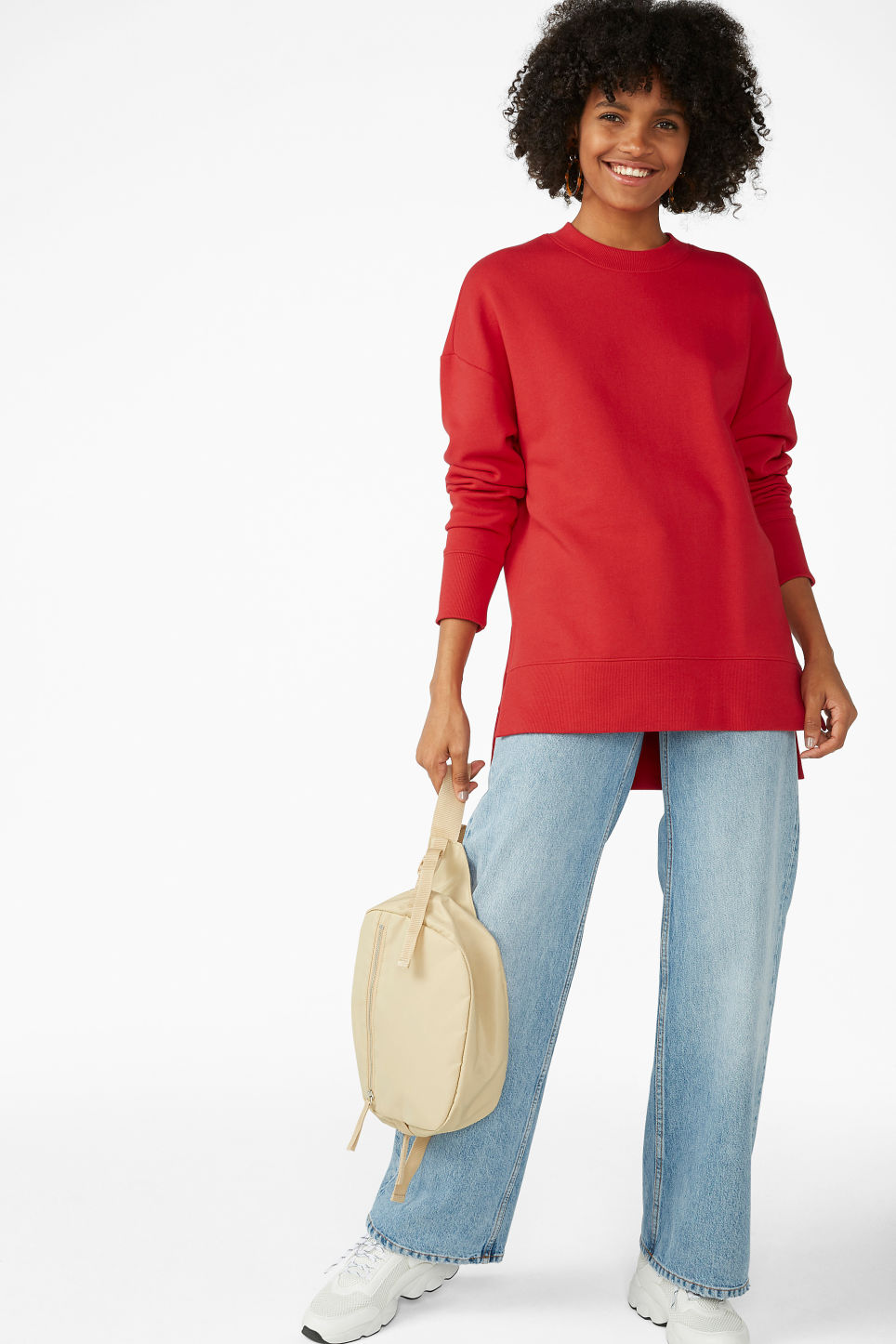 Model side image of Monki asymmetrical sweatshirt  in red