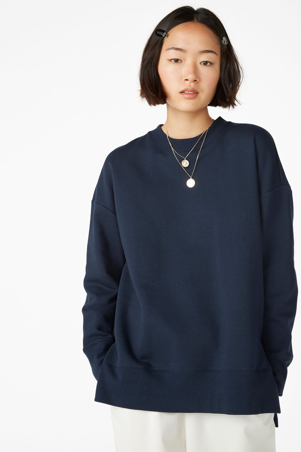 Model front image of Monki asymmetrical sweatshirt  in blue