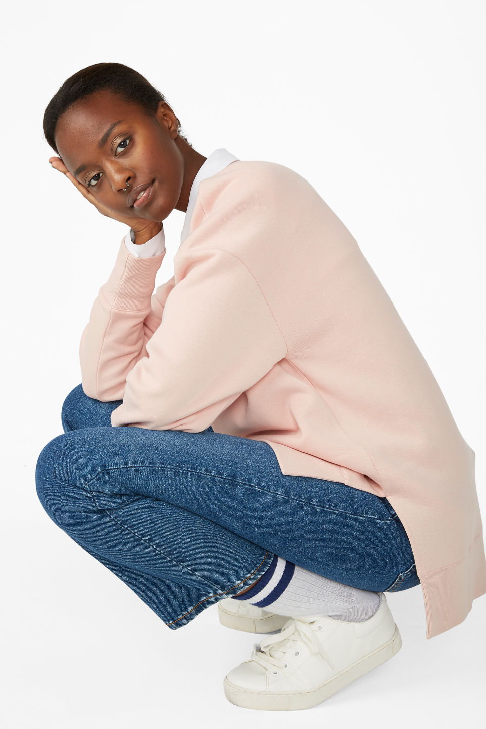 Model front image of Monki asymmetrical sweatshirt  in pink