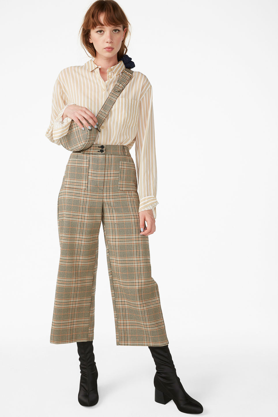 Model front image of Monki straight-leg trousers in orange