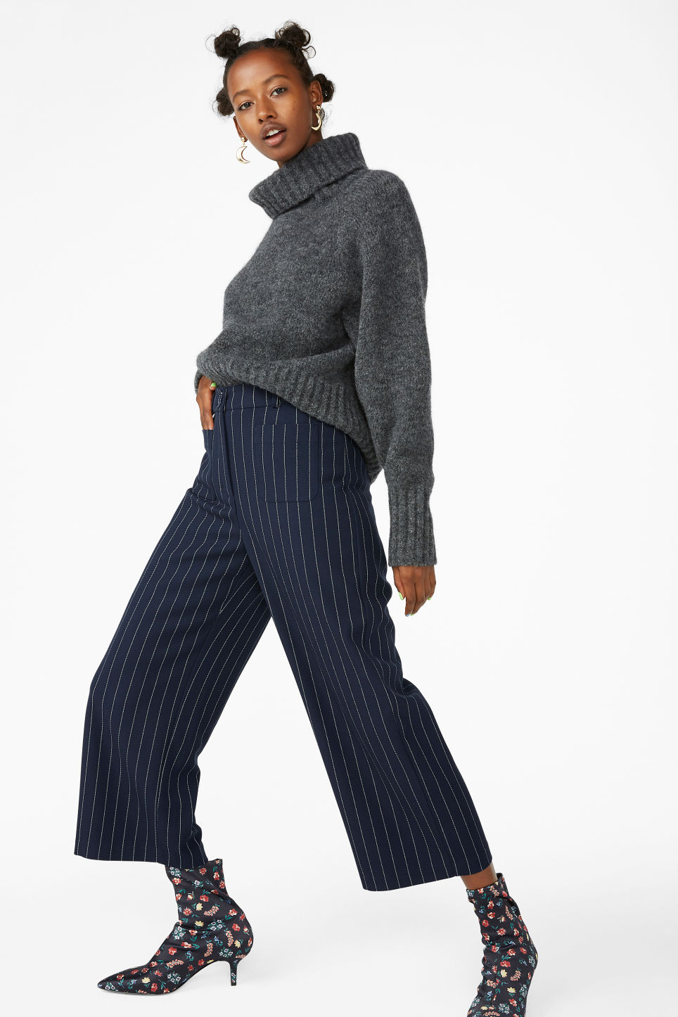 Model front image of Monki straight-leg trousers in blue