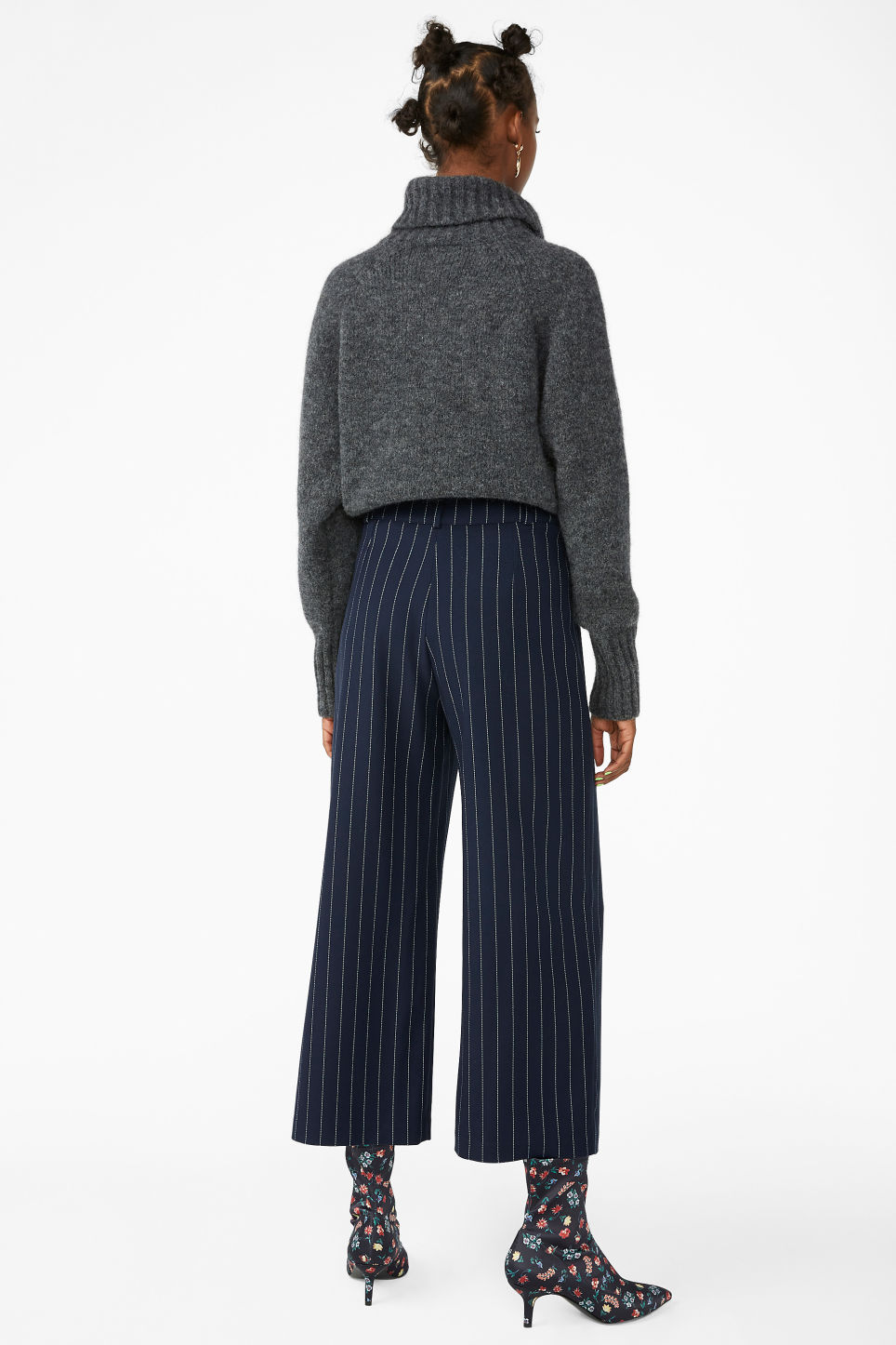 Model back image of Monki straight-leg trousers in blue
