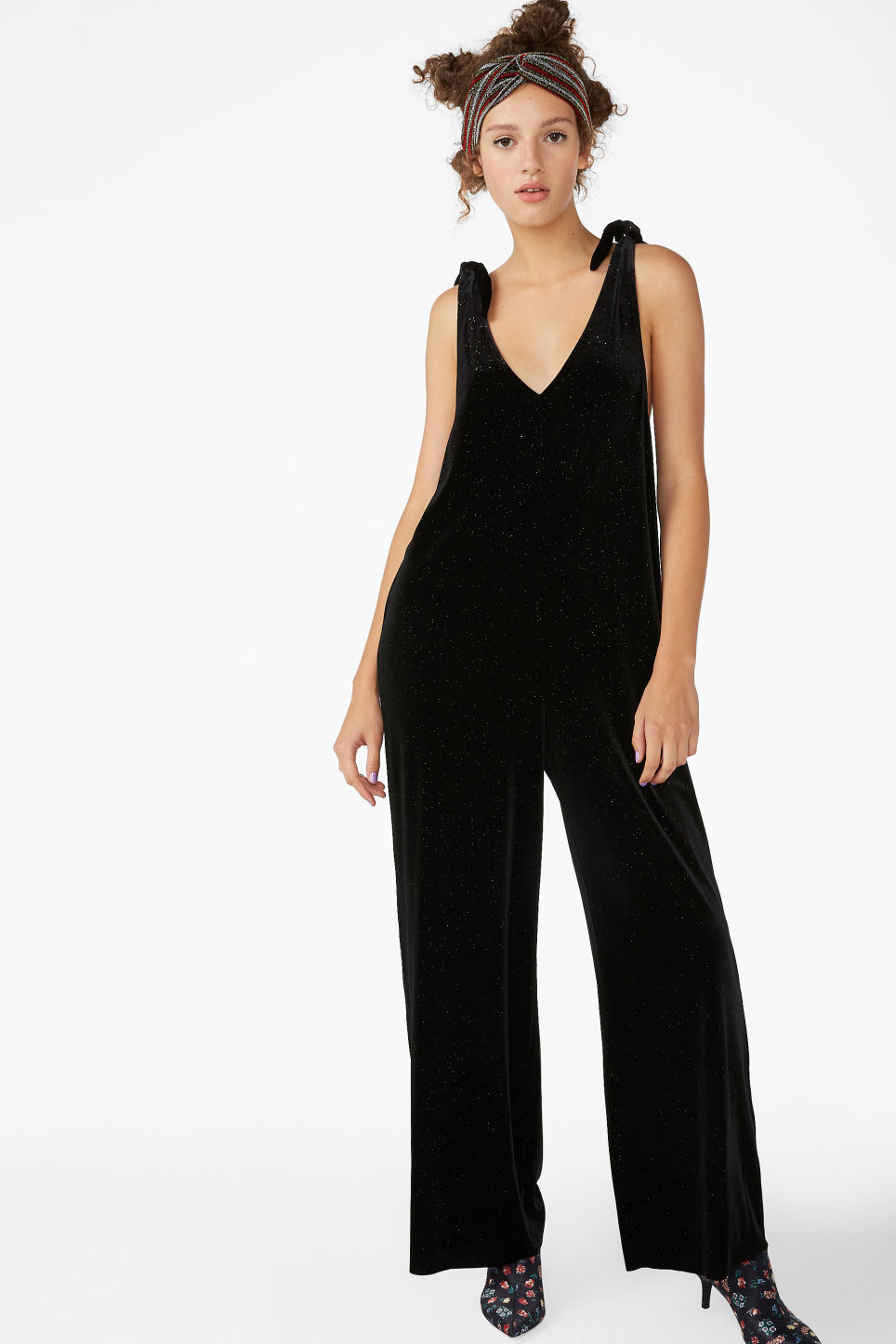 Model front image of Monki velvet dungarees in black