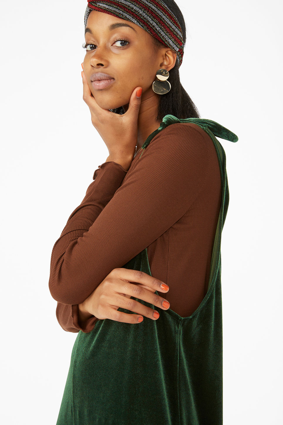 Model front image of Monki velvet dungarees in green