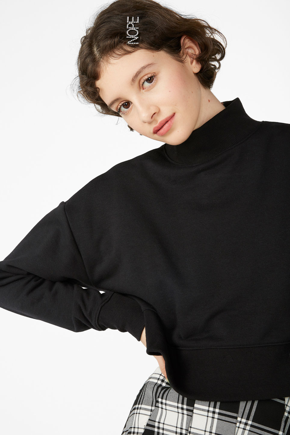 Model front image of Monki high-neck sweater in black