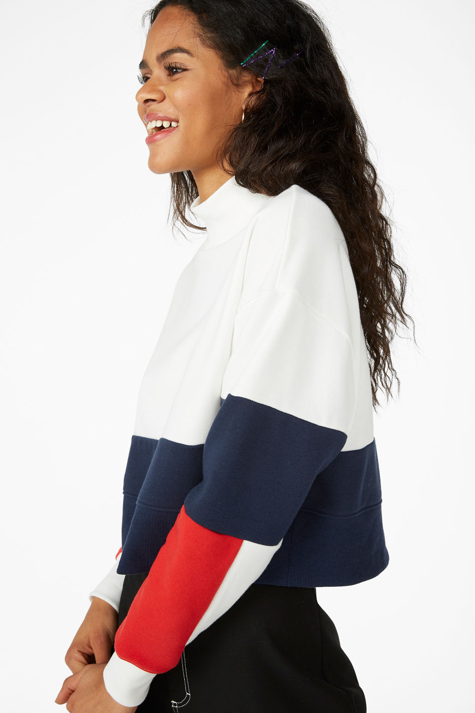 Model front image of Monki high-neck sweater in white