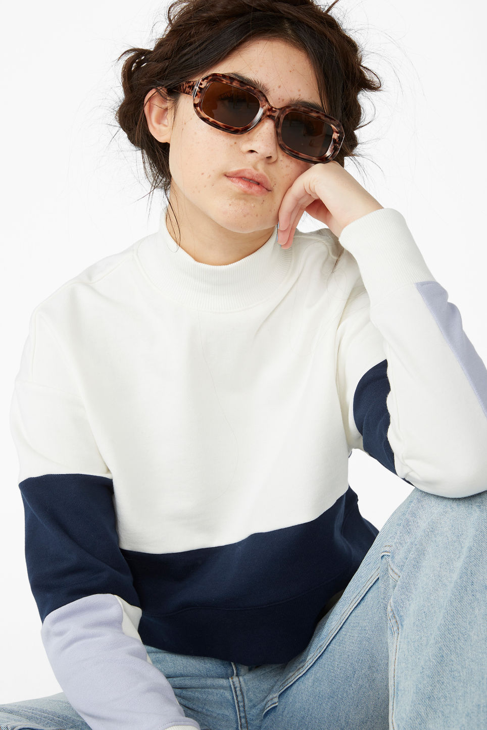 Model front image of Monki high-neck sweater in purple