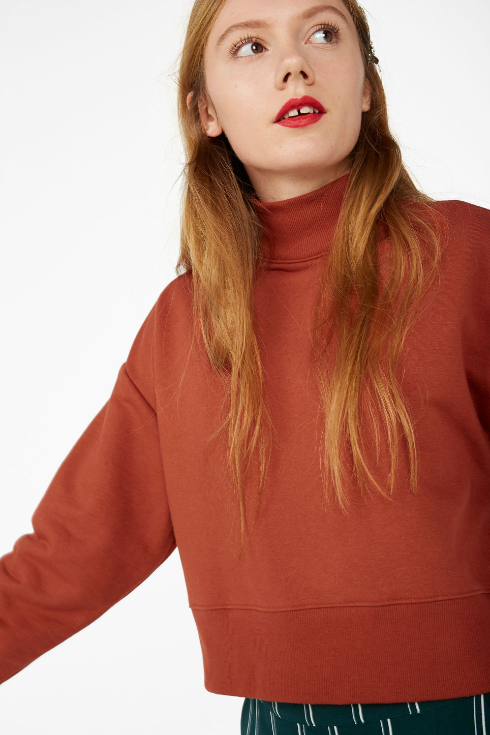 Model front image of Monki high-neck sweater in orange