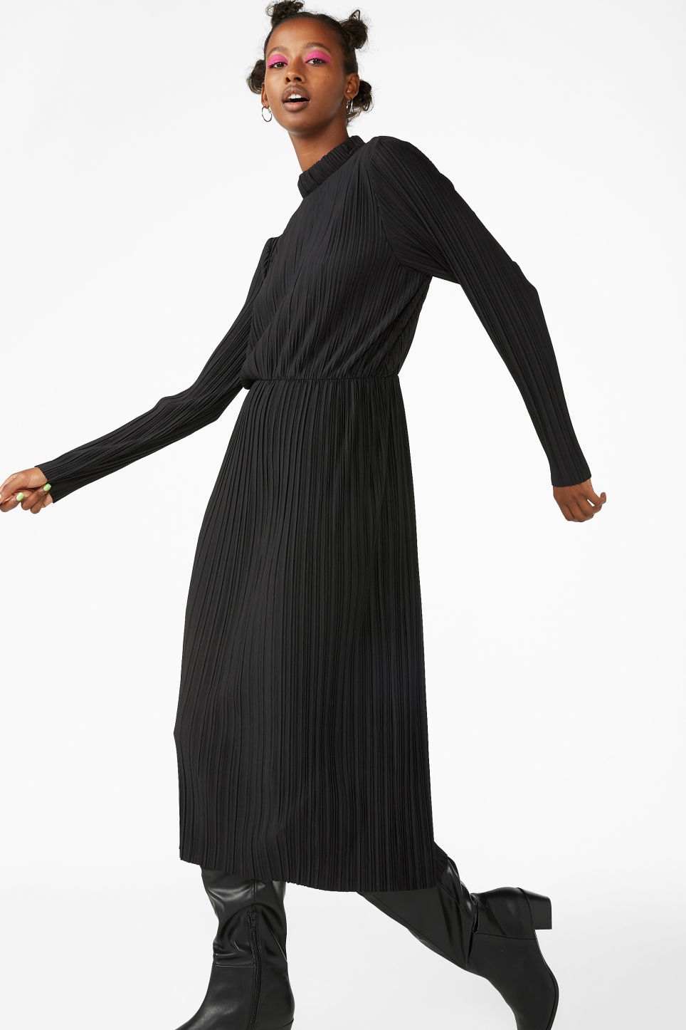 Model front image of Monki creased turtleneck dress in black