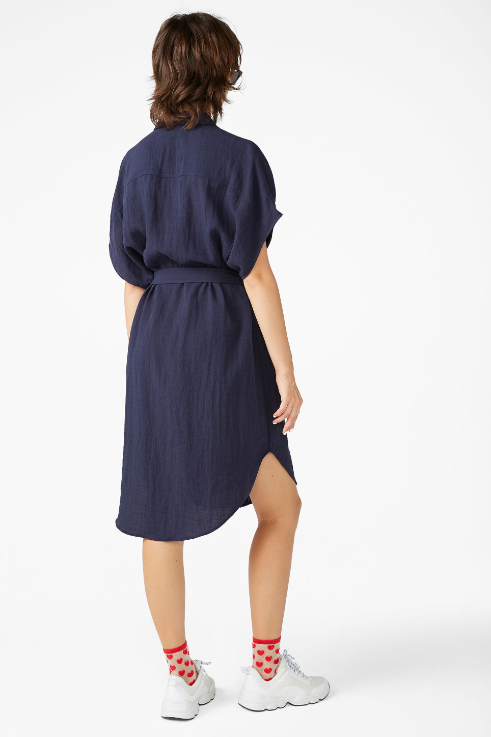 Model back image of Monki buttoned pocket dress in blue