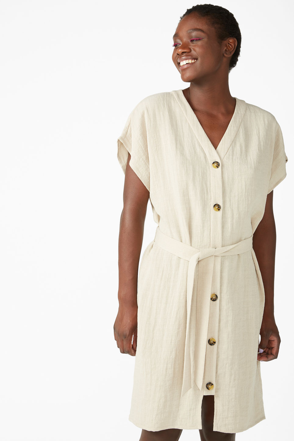 Model front image of Monki flowy sleeveless dress in beige