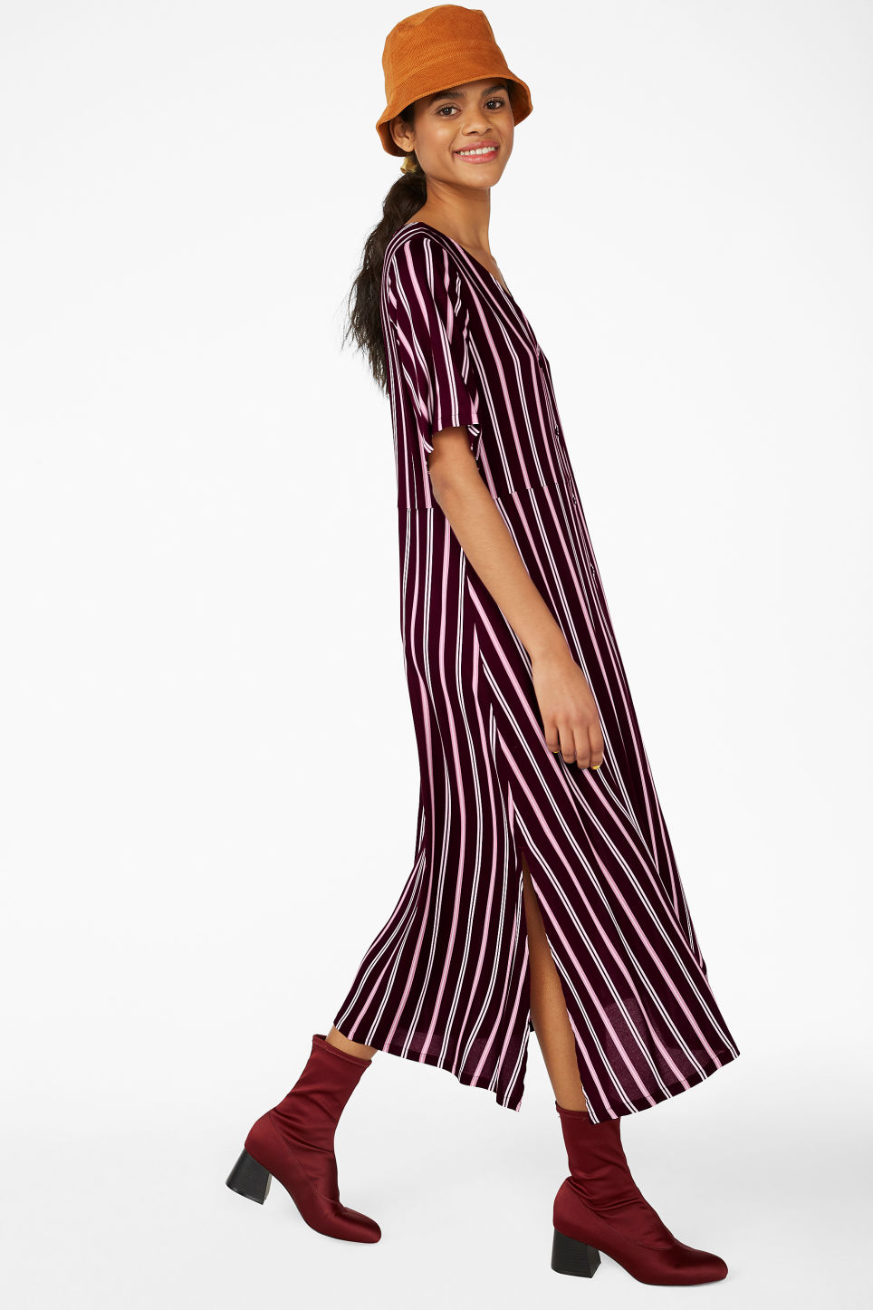Model front image of Monki button up v-neck dress in red