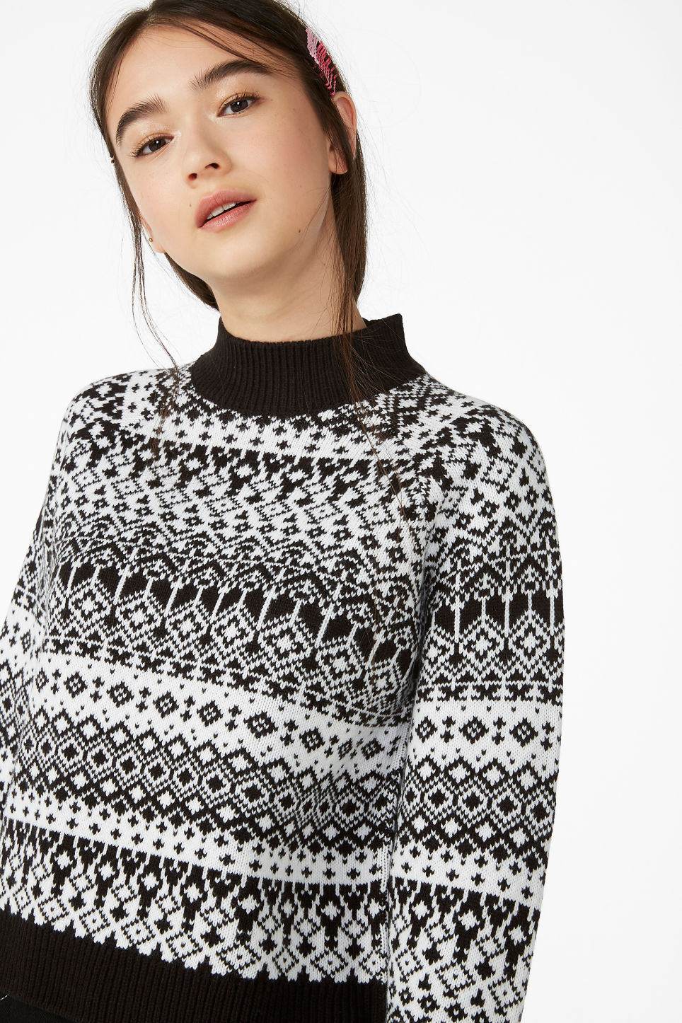 Model front image of Monki knitted sweater in white