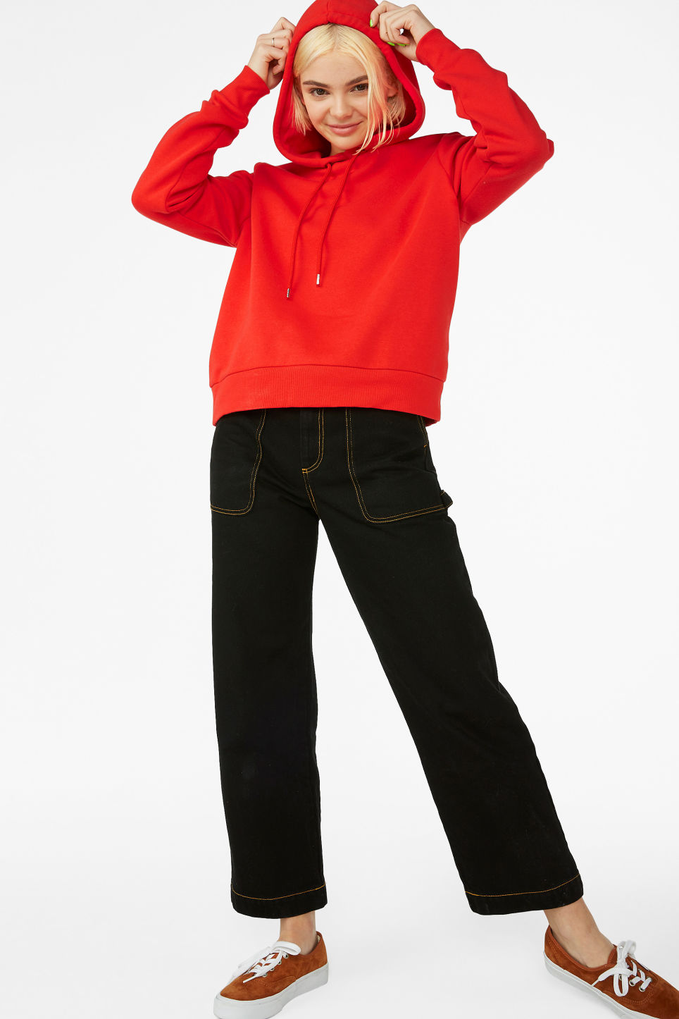 Model front image of Monki classic hoodie in red