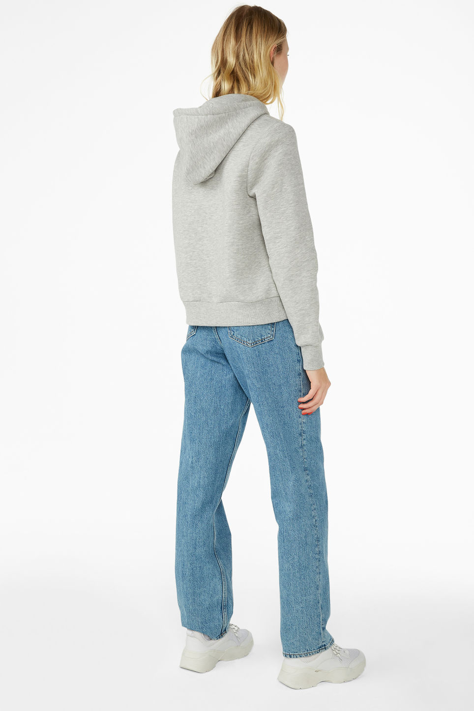 Model back image of Monki classic hoodie in grey