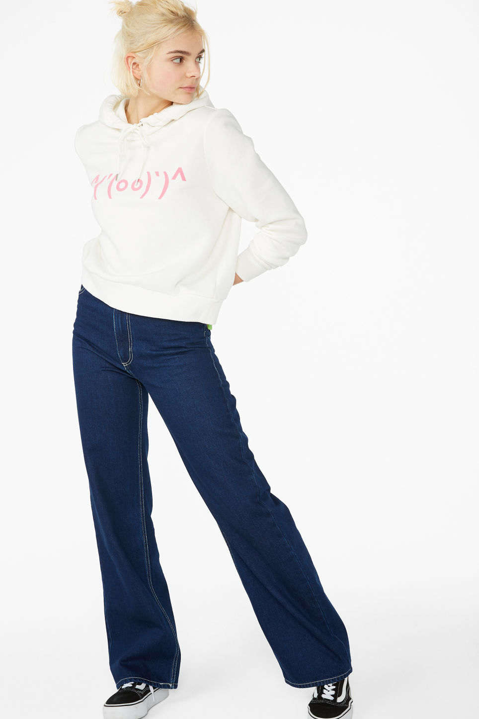 Model front image of Monki classic hoodie in white
