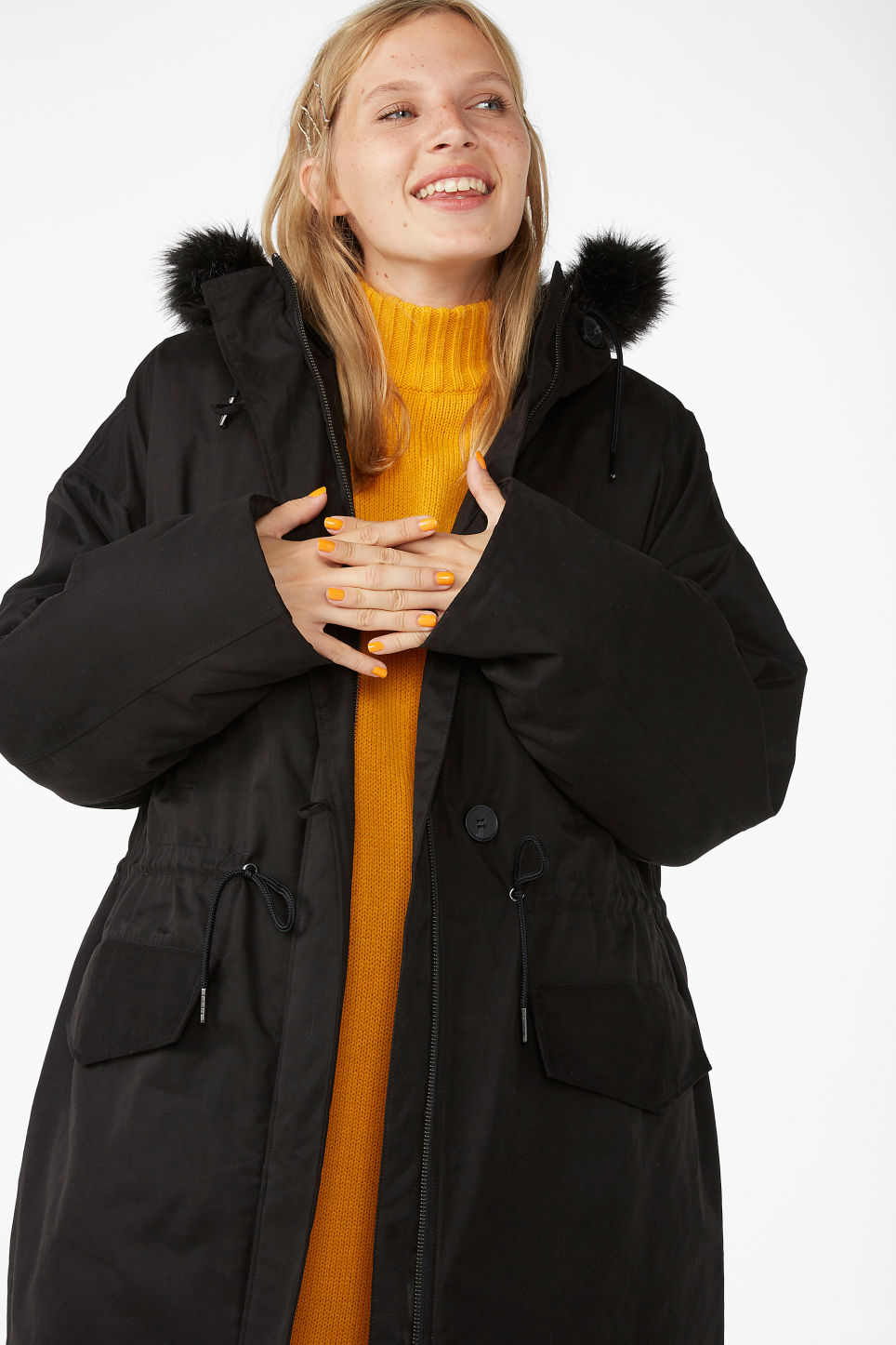 Model front image of Monki padded parka coat in black