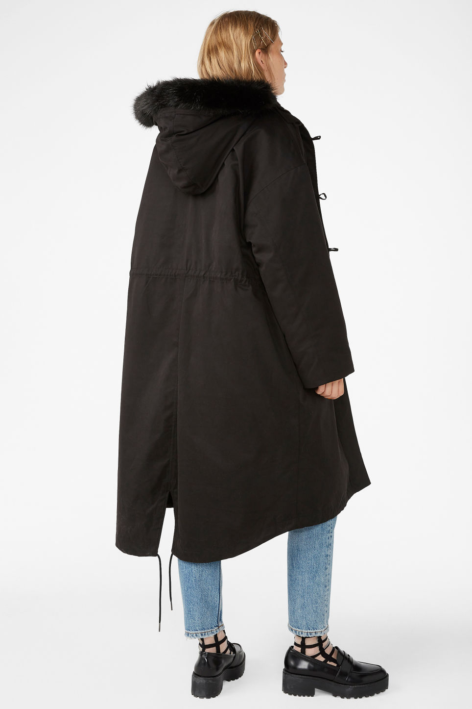 Model back image of Monki padded parka coat in black