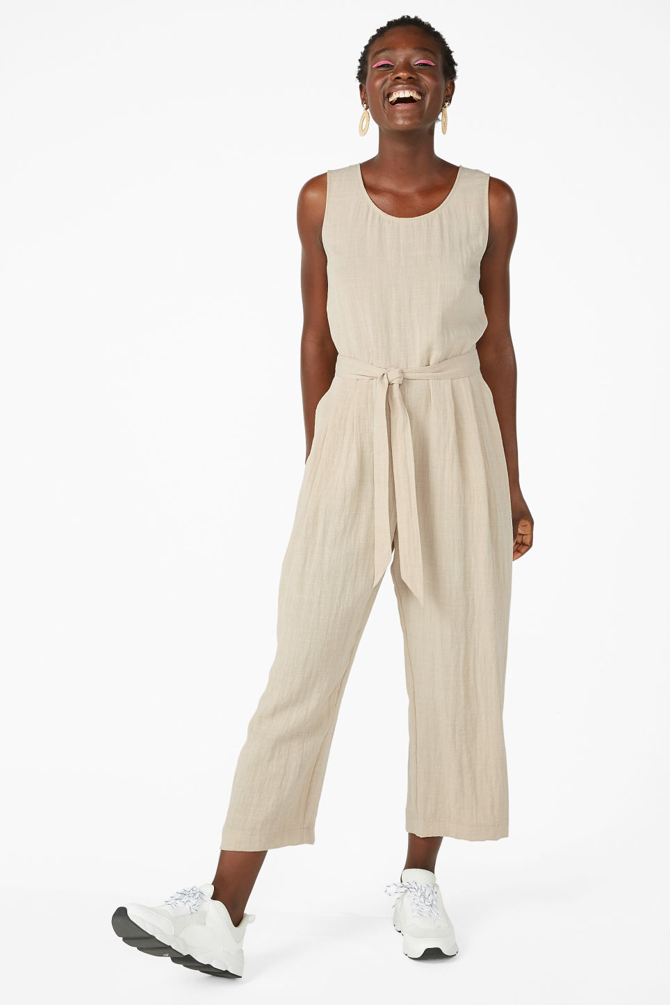 Model front image of Monki flowy jumpsuit in beige