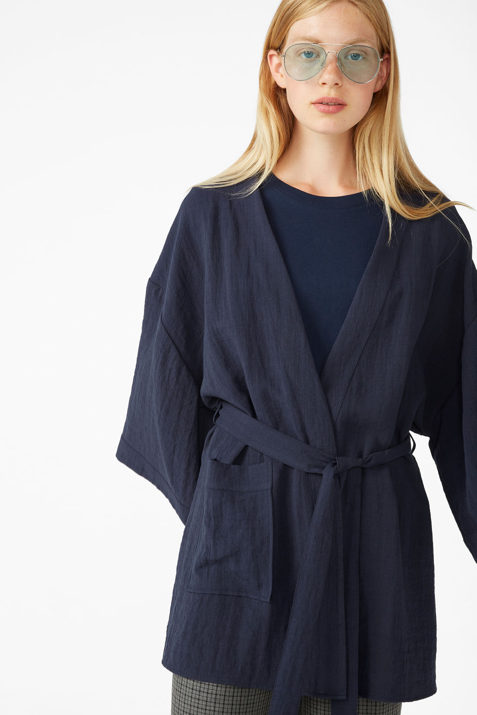 Model front image of Monki kimono blouse in blue