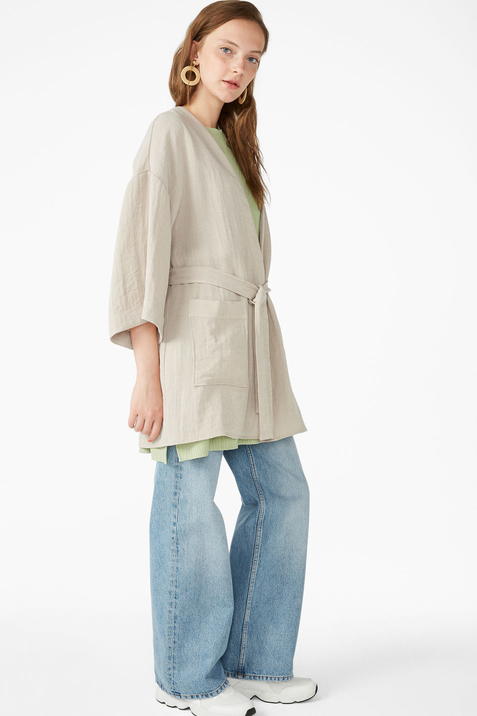Model front image of Monki kimono blouse in beige