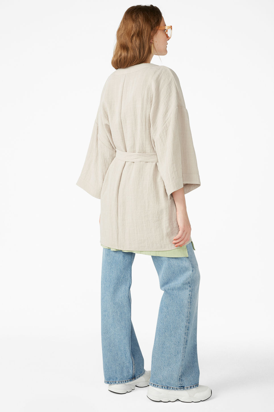 Model back image of Monki kimono blouse in beige