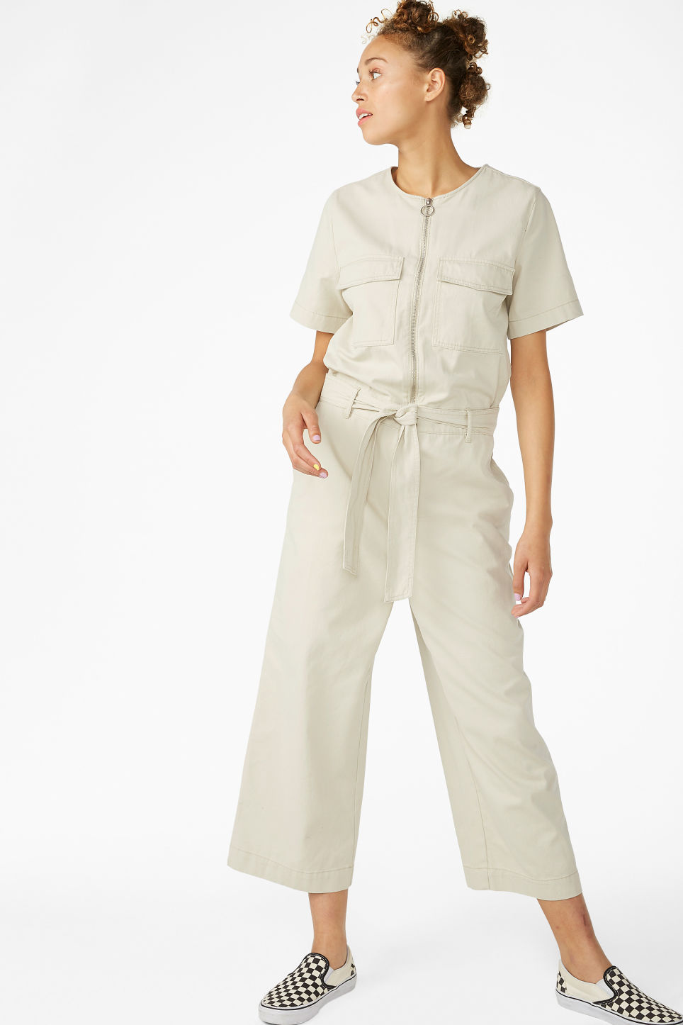 Model front image of Monki utility jumpsuit in beige