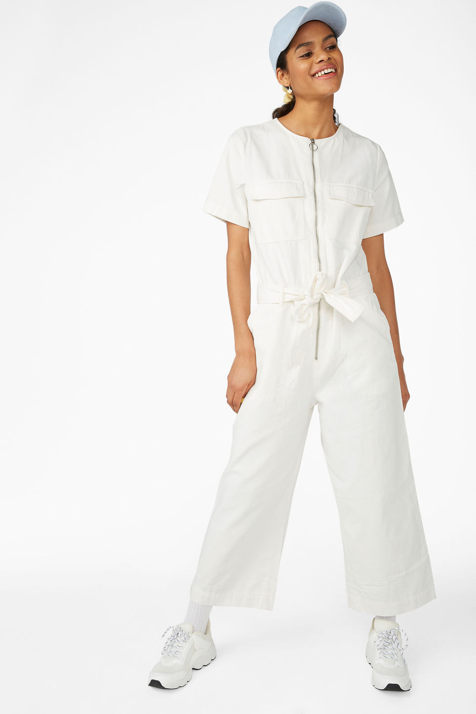 c0205b558e Model front image of Monki utility jumpsuit in white