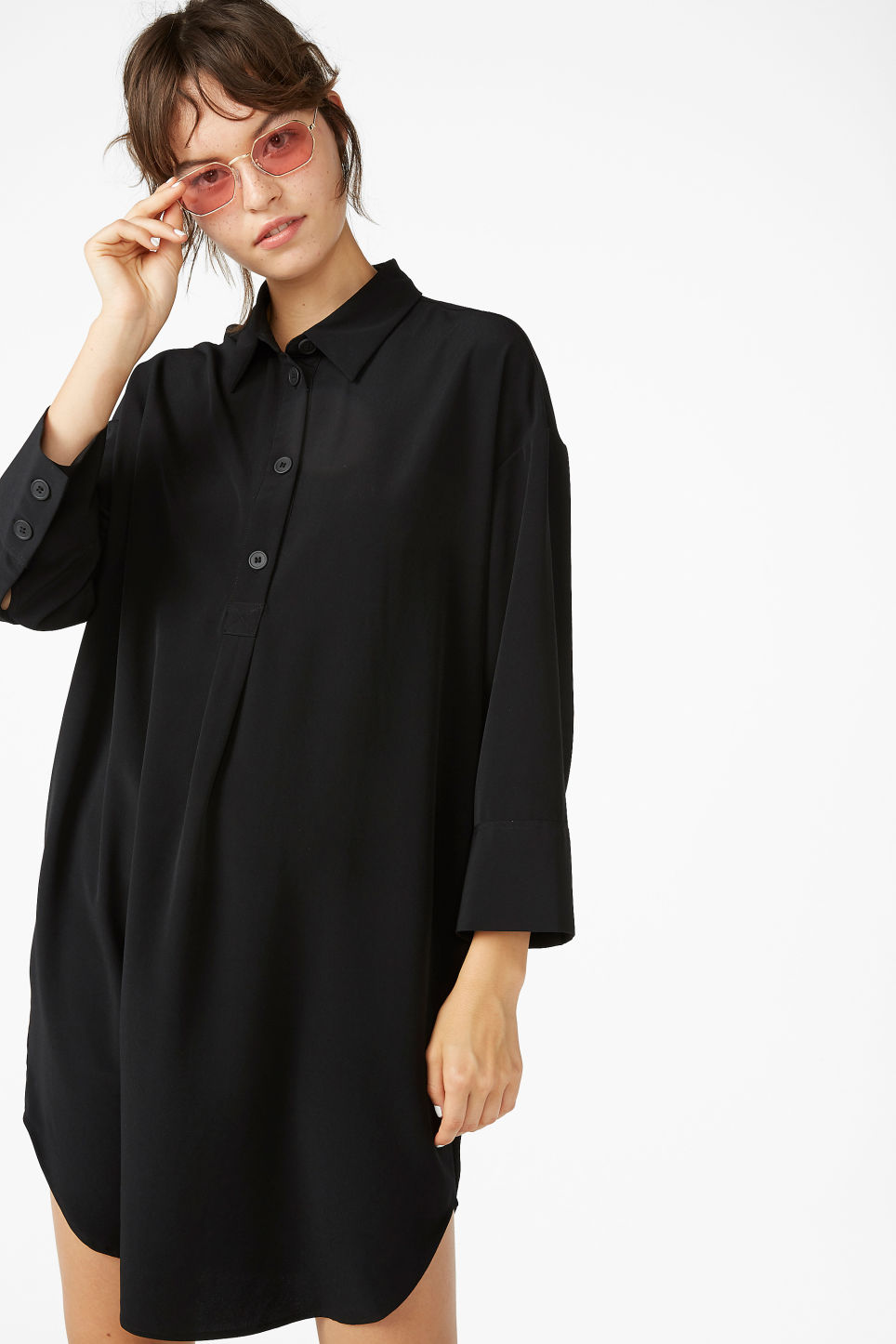 Model front image of Monki classic wide shirt dress  in black