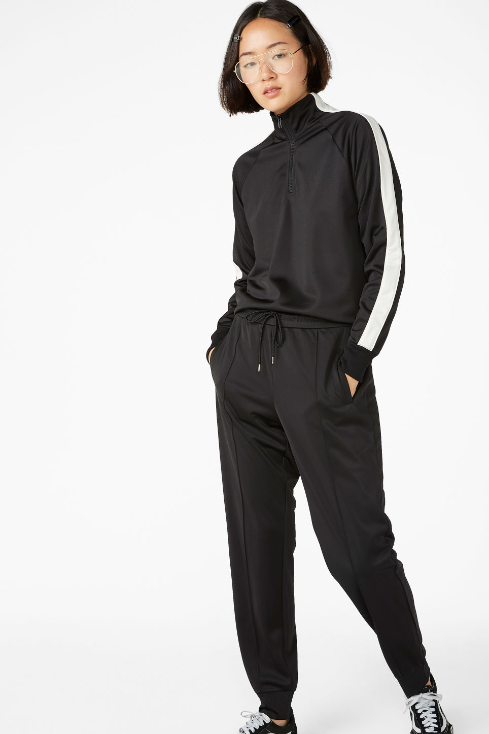 Model front image of Monki formal joggers in black