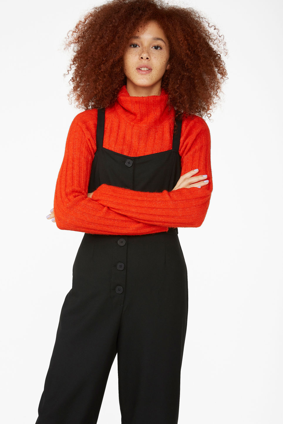 Model front image of Monki casual jumpsuit in black