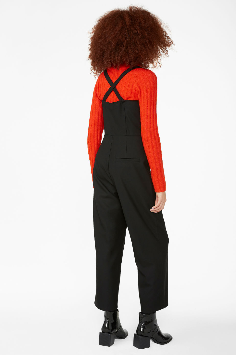 Model back image of Monki casual jumpsuit in black