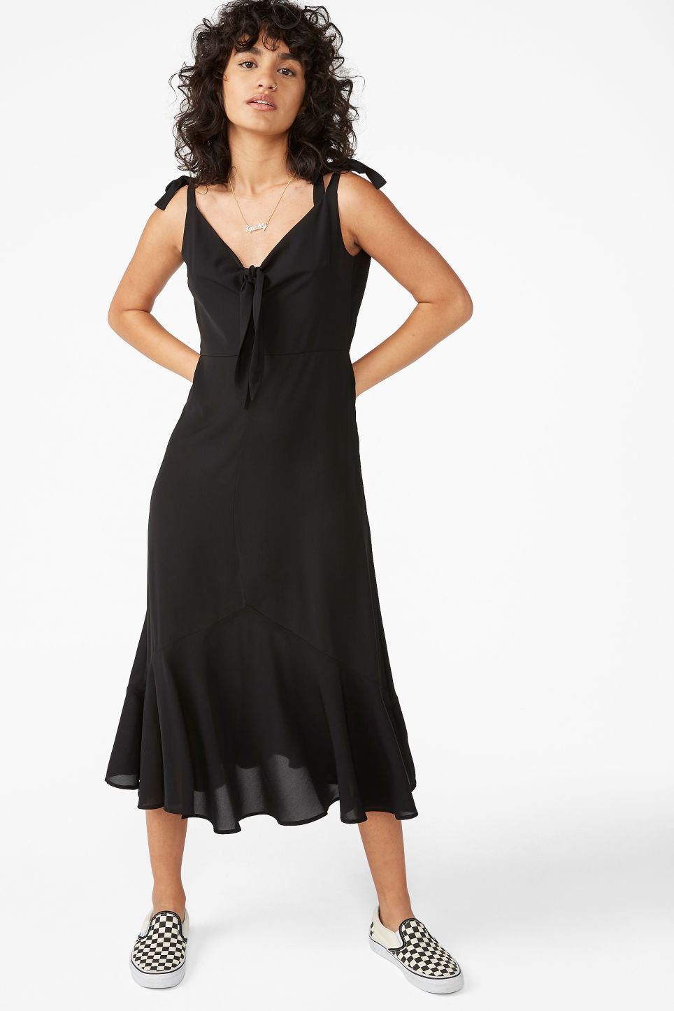 Model front image of Monki romantic dress in black