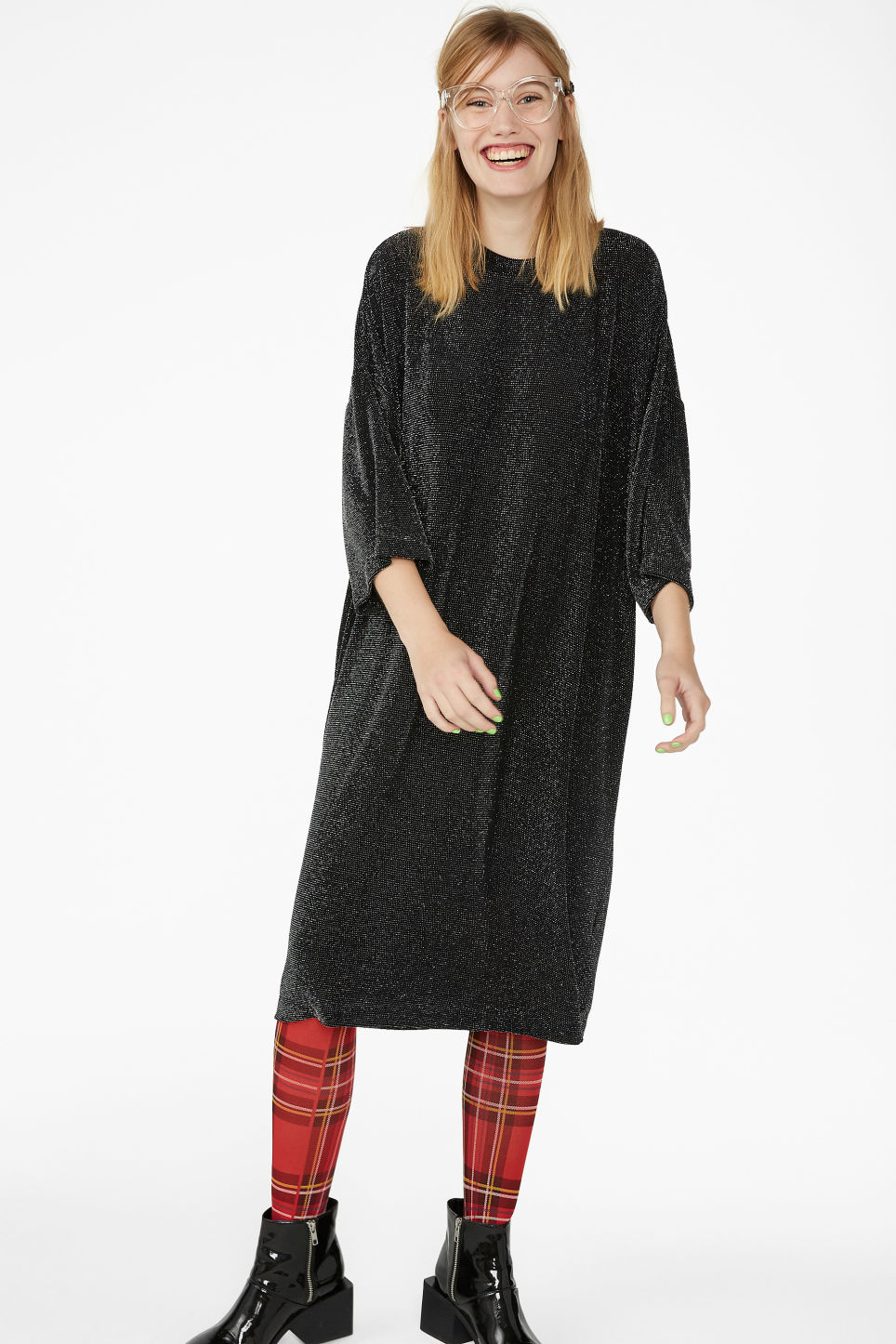 Model front image of Monki glittery lurex dress in black