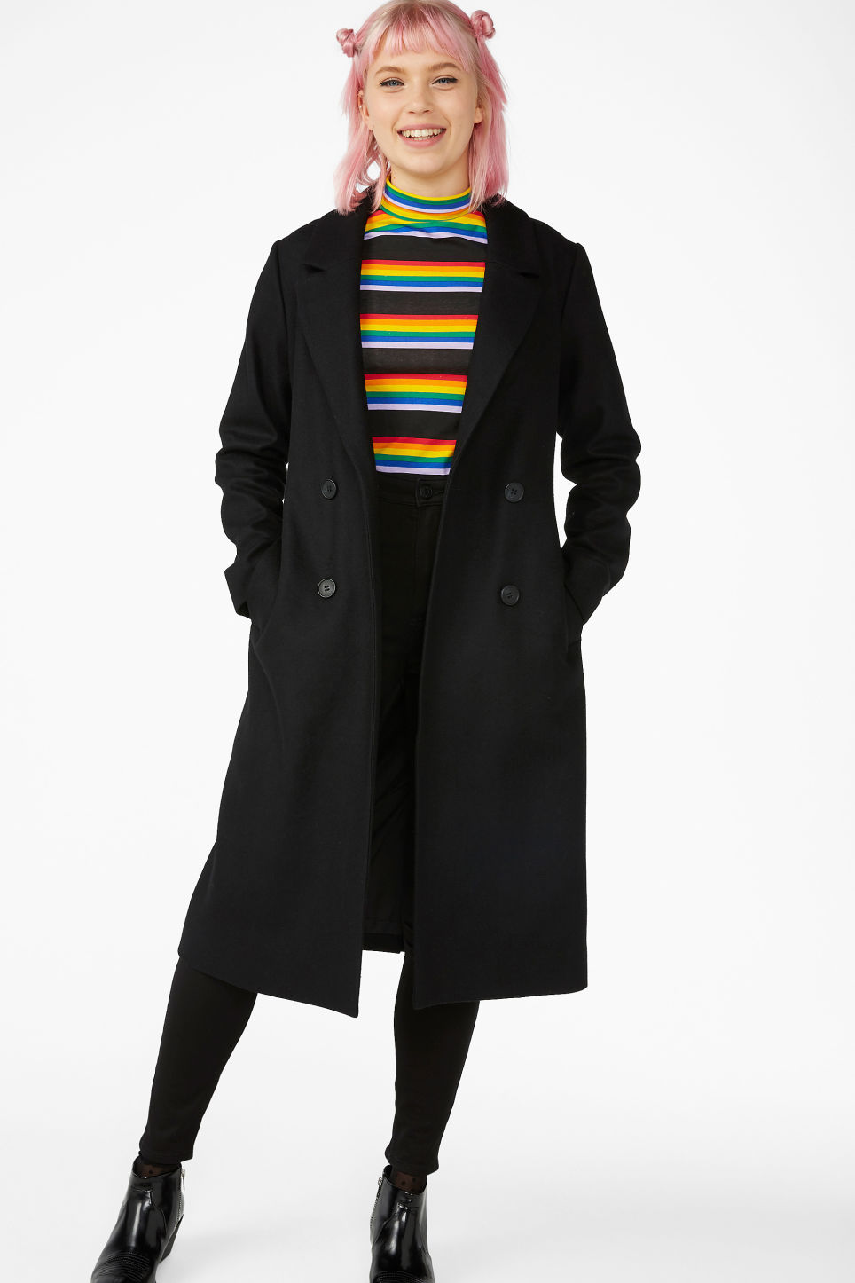 Model front image of Monki long belted coat in black