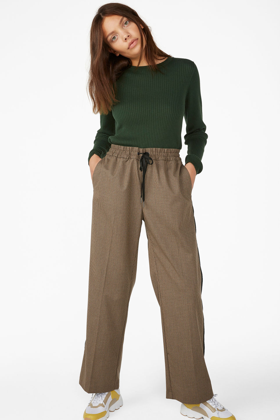 Model front image of Monki sporty trousers in beige