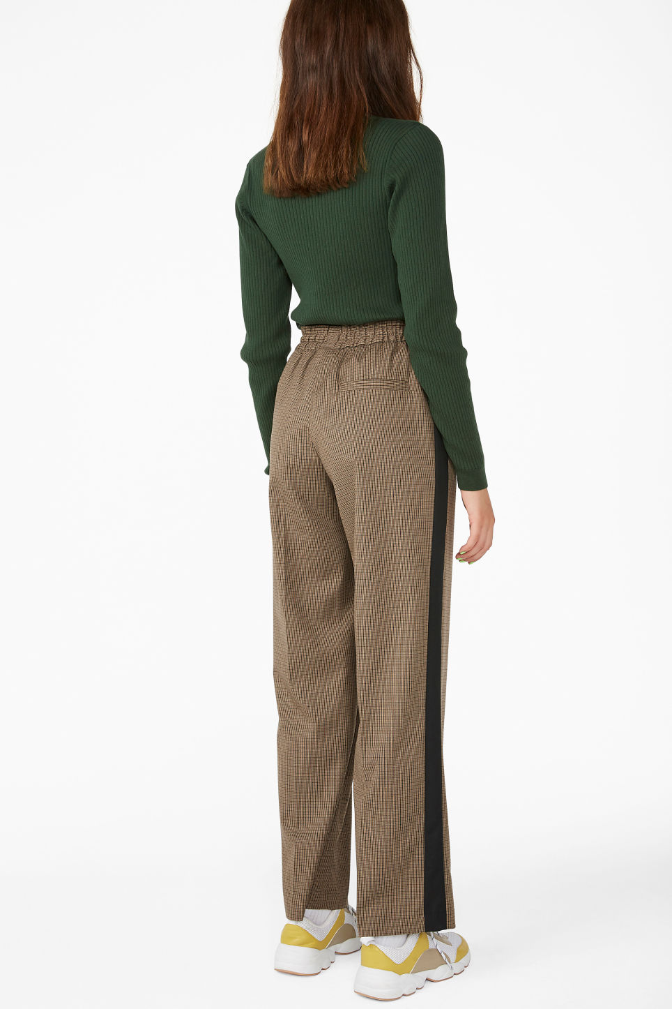 Model back image of Monki sporty trousers in beige