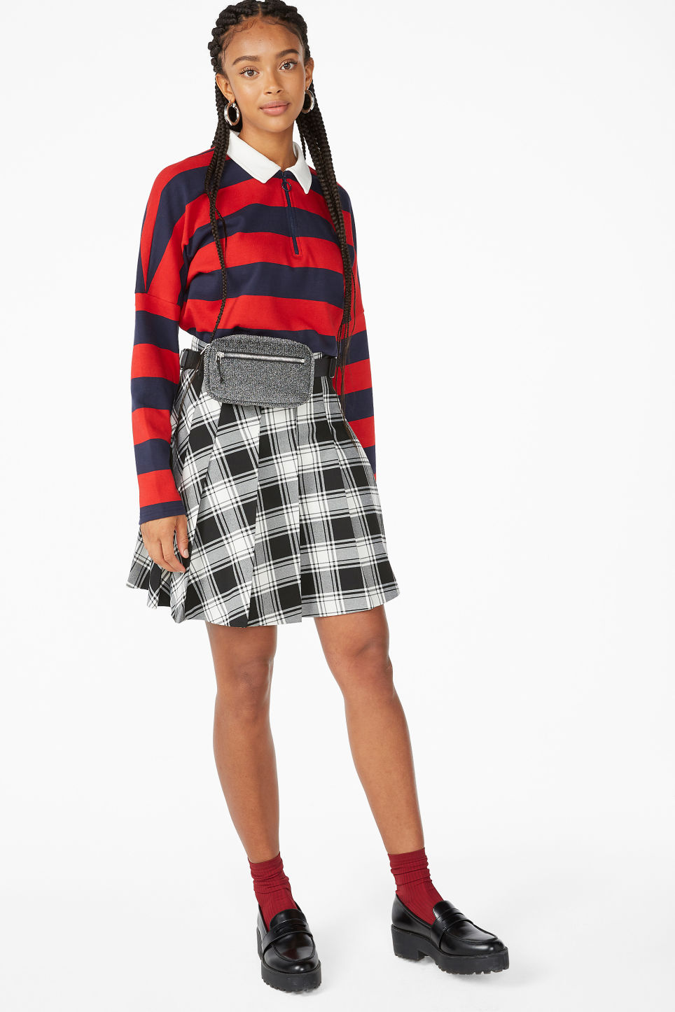 Model front image of Monki pleated skirt in black