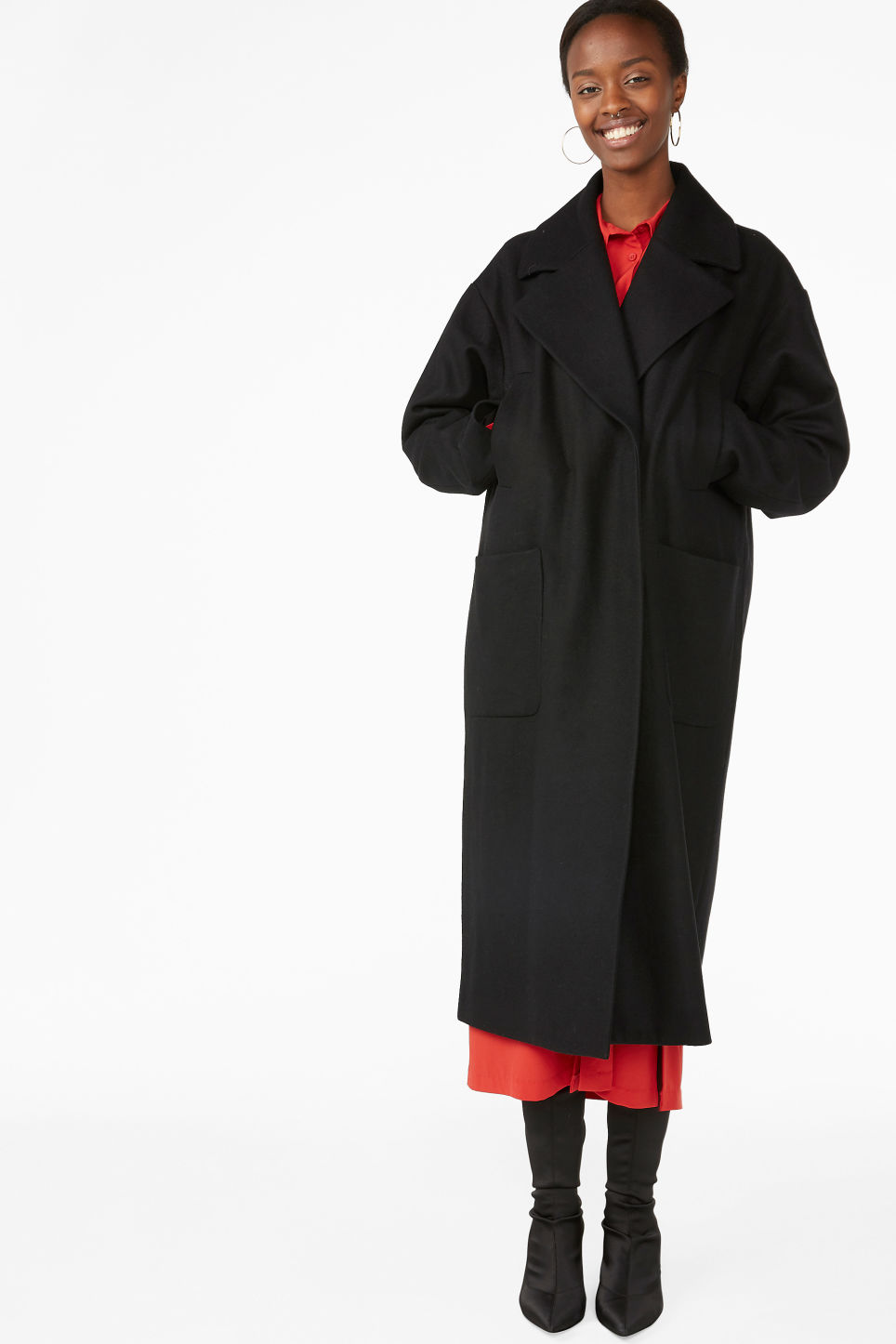 Model front image of Monki double-breasted wool coat in black